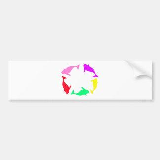 Orca Whale Circle in Five Colors Bumper Sticker