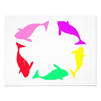 Orca Whale Circle in Five Colors Custom Invite