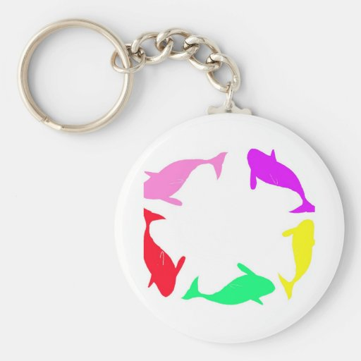 Orca Whale Circle in Five Colors Keychains