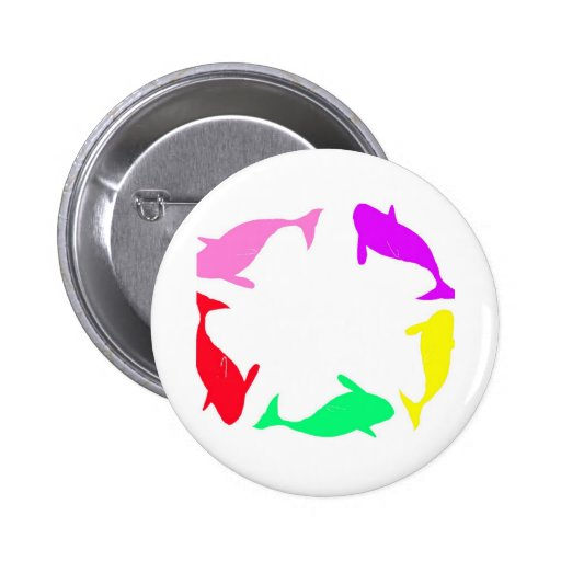 Orca Whale Circle in Five Colors Pin