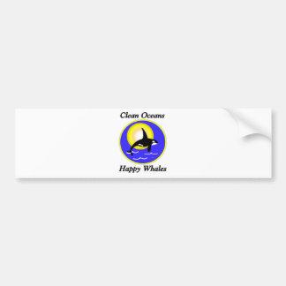 Orca Whale Clean Oceans Happy Whales Bumper Sticker