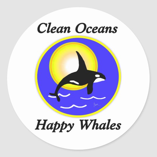 Orca Whale Clean Oceans Happy Whales Classic Round Sticker