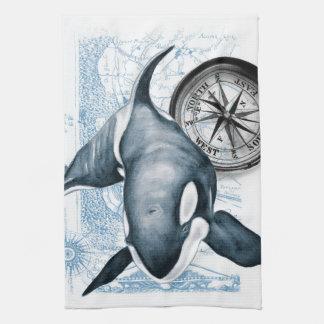 Orca Whale Compass Kitchen Towel