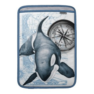 Orca Whale Compass Sleeve For MacBook Air