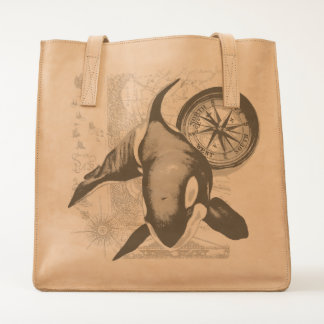 Orca Whale Compass Tote