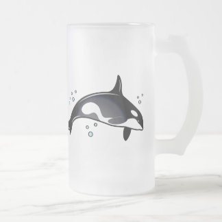 Orca Whale Frosted Glass Beer Mug