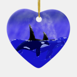 Orca Whale Heart Shaped Ornament