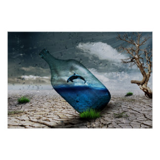 Orca Whale in a Bottle Nature Wall Poster