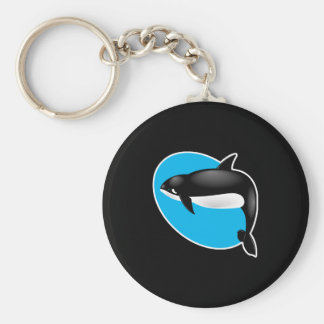orca whale basic round button keychain