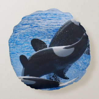 Orca Whale Round Pillow