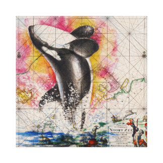 orca whale map canvas print