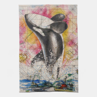 orca whale map hand towel