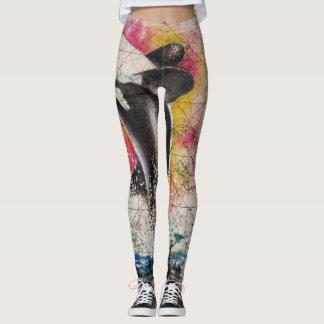 orca whale map leggings