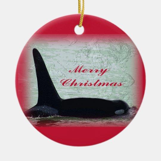 Orca Whale Merry Christmas Ornament