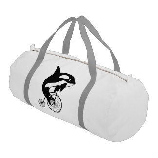 Orca Whale on Vintage Bike Gym Duffle Bag