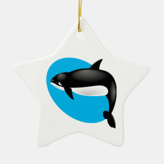 orca whale Double-Sided star ceramic christmas ornament