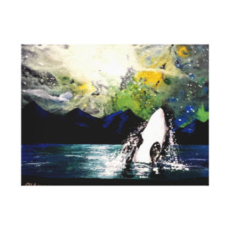 ORCA WHALE PLAYING AT NIGHT CANVAS PRINT