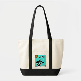 Orca Whale playing sun recycle bag