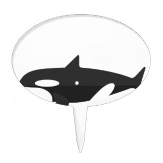 Orca Whale Primitive Style Cake Topper