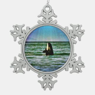 Orca whale rainbow holiday ornament