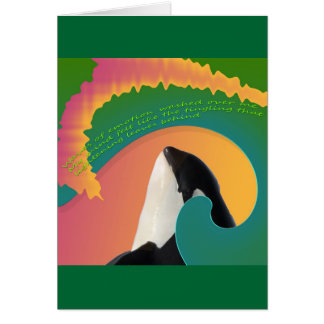 Orca Whale Rainbow Wave Greeting Cards