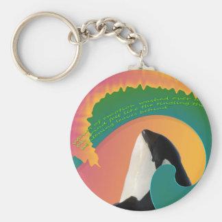 Orca Whale Rainbow Wave Keychain