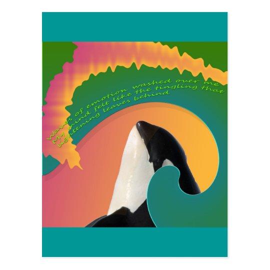 Orca Whale Rainbow Wave Postcard
