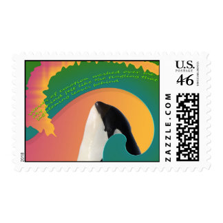 Orca Whale Rainbow Wave Stamp