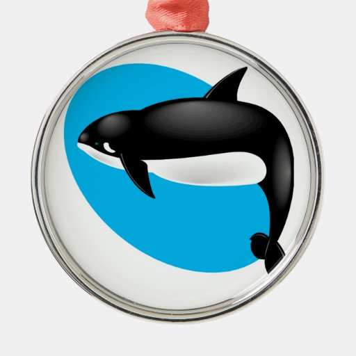 orca whale round metal christmas ornament