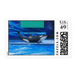 Orca Whale Showing Off Postage Stamp