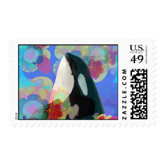 Orca Whale Spy Hop Fantasy Postage Stamp