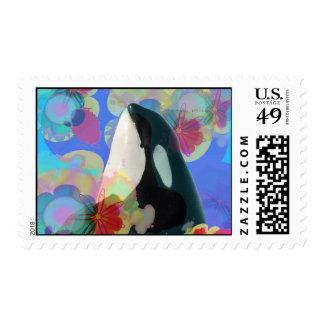 Orca Whale Spy Hop Fantasy Postage Stamp