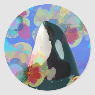 Orca Whale Spy Hop Multicolor Graphic-I SEE You Classic Round Sticker