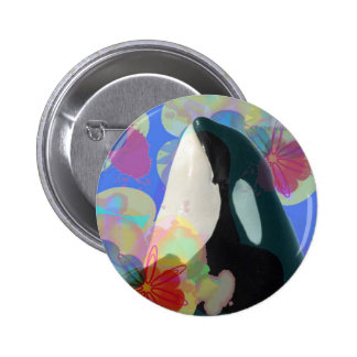 Orca Whale Spy Hop Multicolor Graphic-I SEE You Pinback Button