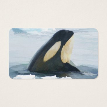 Professional Business Orca Whale Spyhop blue Business Card