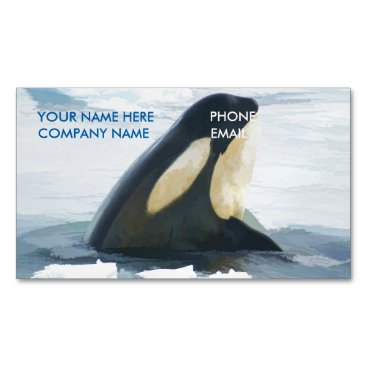 Professional Business Orca Whale Spyhop blue Business Card Magnet