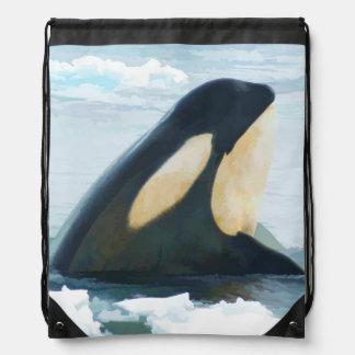 Orca Whale Spyhop blue Drawstring Bag