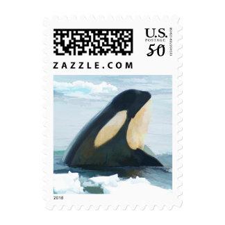 Orca Whale Spyhop blue Postage