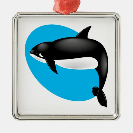 orca whale square metal christmas ornament
