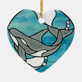 Orca Whale Stained Glass Art Design Ceramic Ornament