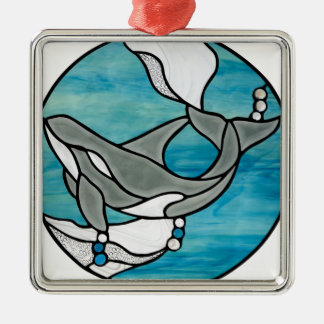 Orca Whale Stained Glass Art Design Metal Ornament