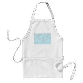 Orca Whale Swimming Drawing Turquoise Lavender Adult Apron