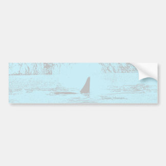 Orca Whale Swimming Drawing Turquoise Lavender Car Bumper Sticker