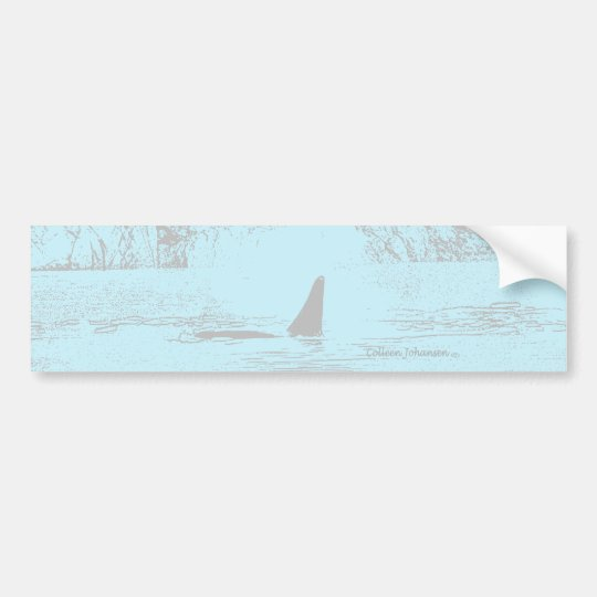 Orca Whale Swimming Drawing Turquoise Lavender Bumper Sticker