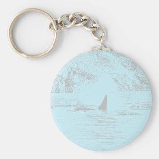 Orca Whale Swimming Drawing Turquoise Lavender Keychain