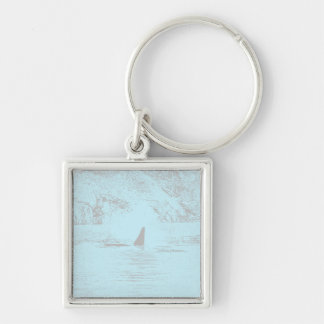Orca Whale Swimming Drawing Turquoise Lavender Keychains