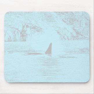 Orca Whale Swimming Drawing Turquoise Lavender Mouse Pad
