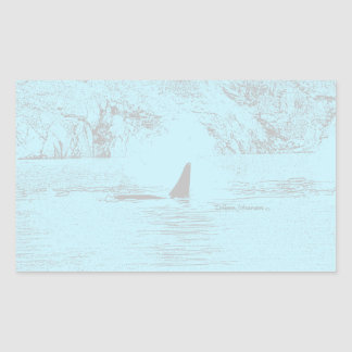 Orca Whale Swimming Drawing Turquoise Lavender Rectangular Sticker
