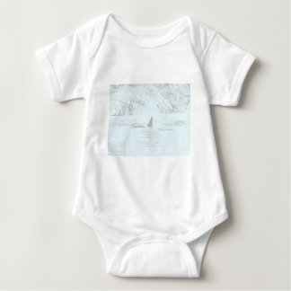 Orca Whale Swimming Drawing Turquoise Lavender T-shirt