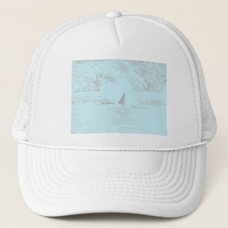 Orca Whale Swimming Drawing Turquoise Lavender Trucker Hat